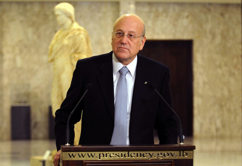 El primer ministro Mikati presentó su renuncia el viernes pasado. Aquí, en una conferencia de prensa en la Residencia Presidencial de Baabda