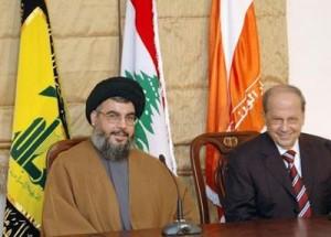 Hassan Nasrallah (Hezbolá) y Michel Aoun (Movimiento Patriótico Libre) son de los principales pilares de la Alianza 8 de Marzo