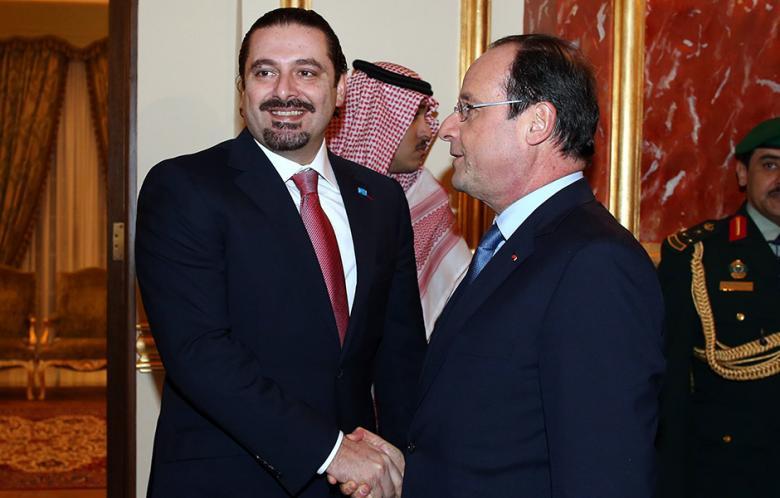 Saad Hariri, líder del Movimiento del Futuro, con el presidente francés Hollande